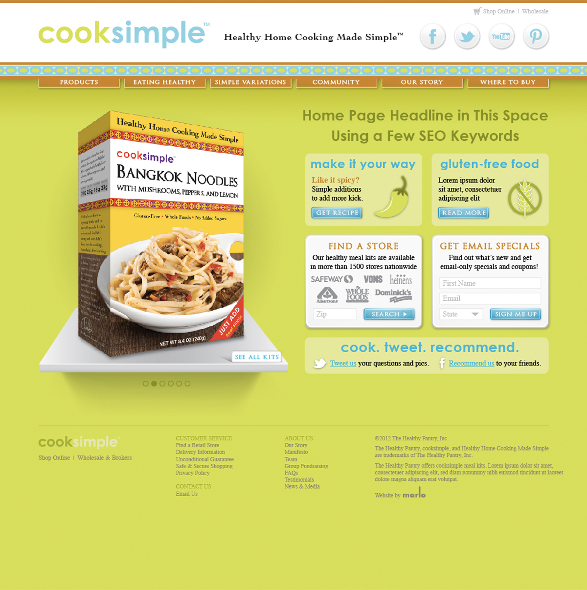 Cooksimple Website Homepage