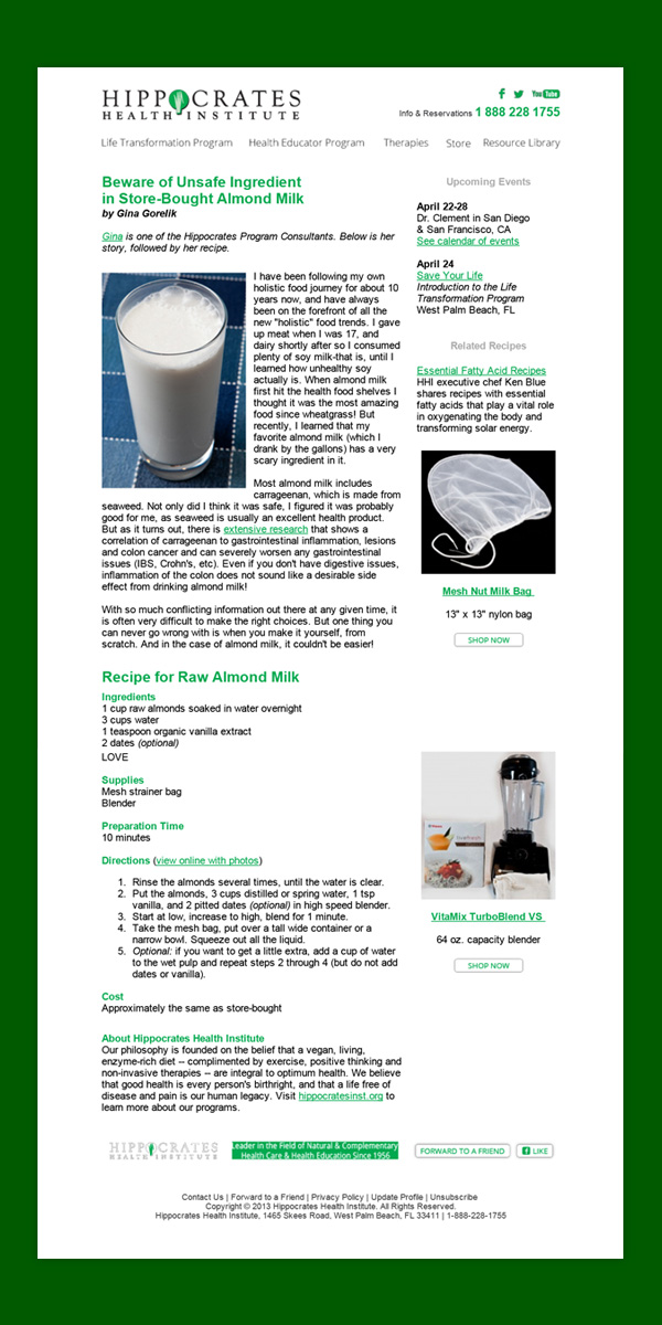 Hippocrates Eblast – Almond Milk Recipe