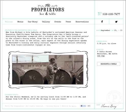 Proprietors Website Homepage