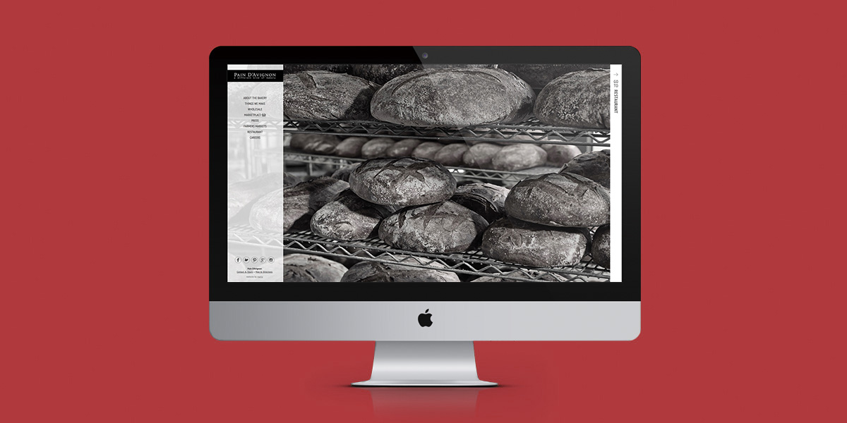 Pain D'Avignon Website Homepage: Bakery