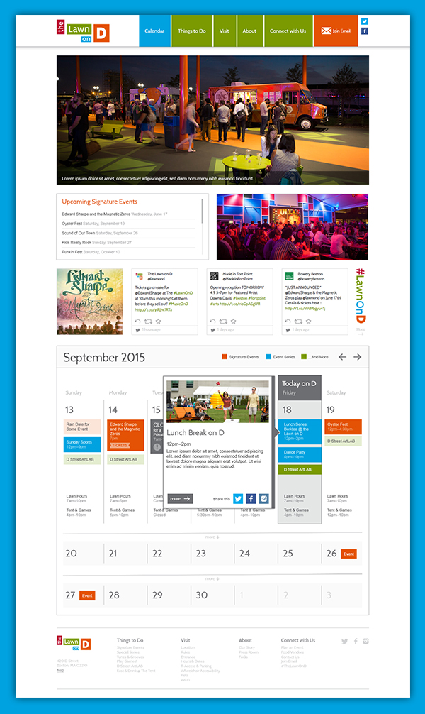 The Lawn On D Website – Full View of Calendar