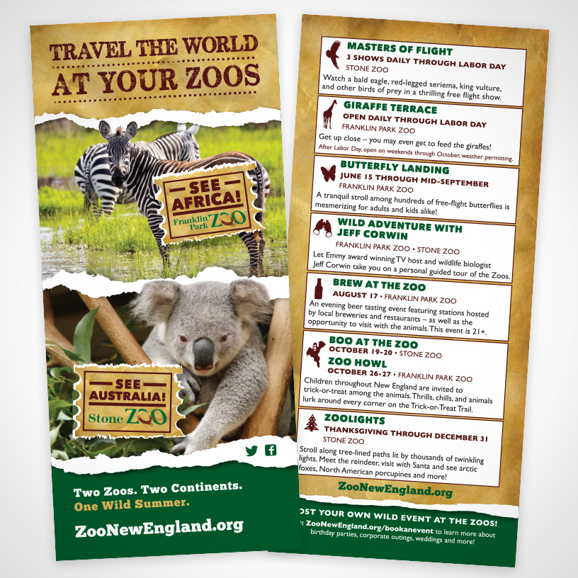 Zoo New England Travel The World Rack Card