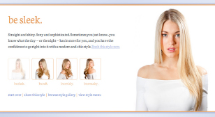 Be Styled Website Showing Interactive Hair Selection