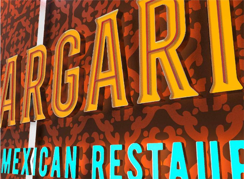 Margaritas Exterior Signage Concept (Closeup)