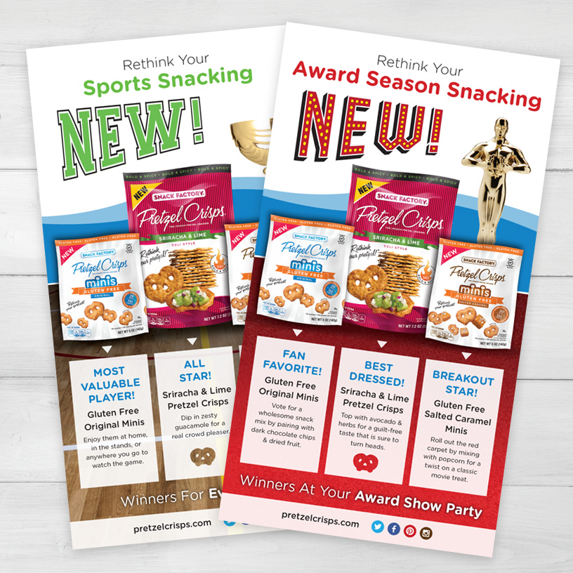 Pretzel Crisps® All Stars Media Mailer Insert Cards