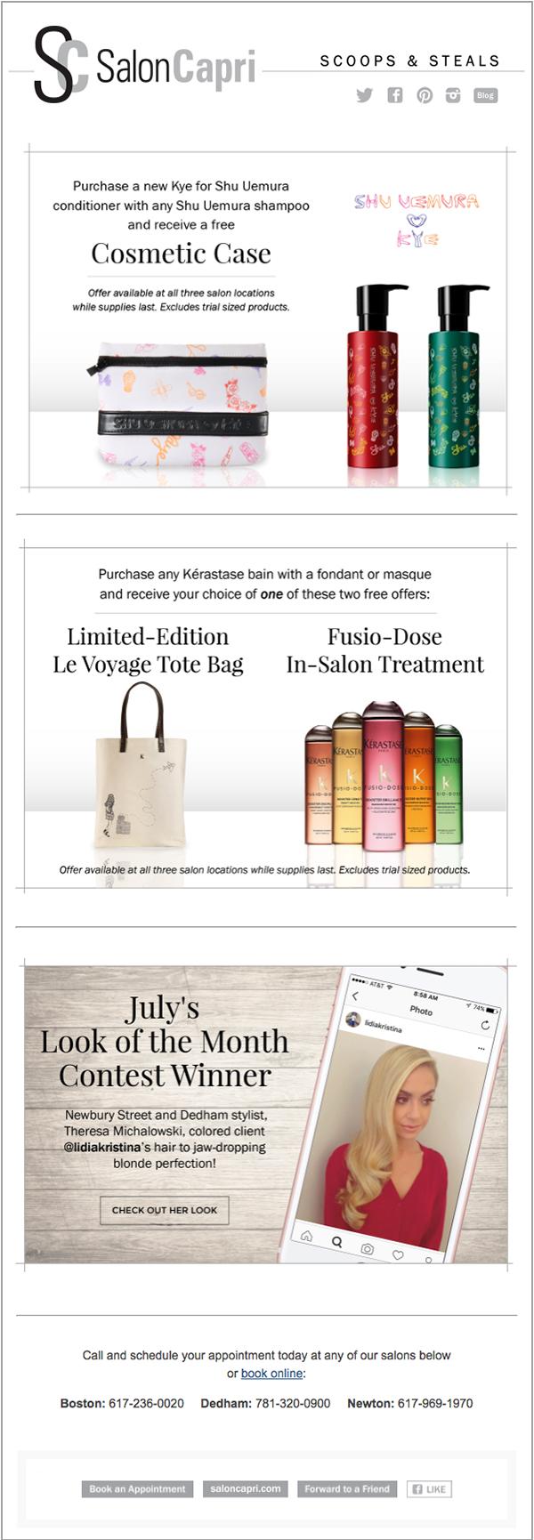 Salon Capri Email Campaign