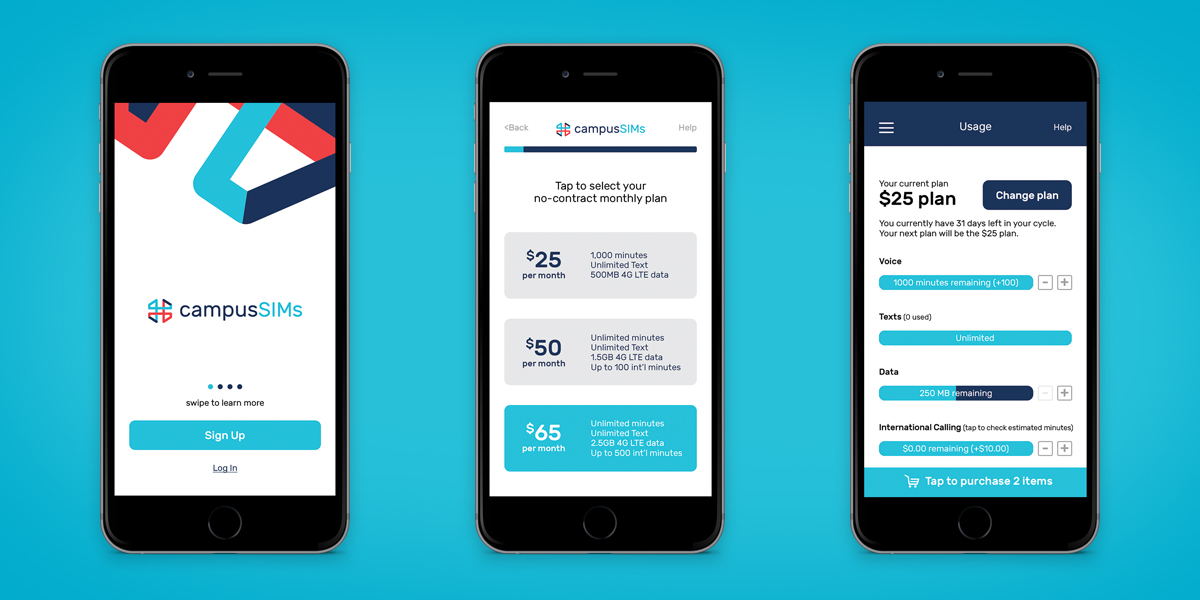 Campus SIMs Mobile App Design