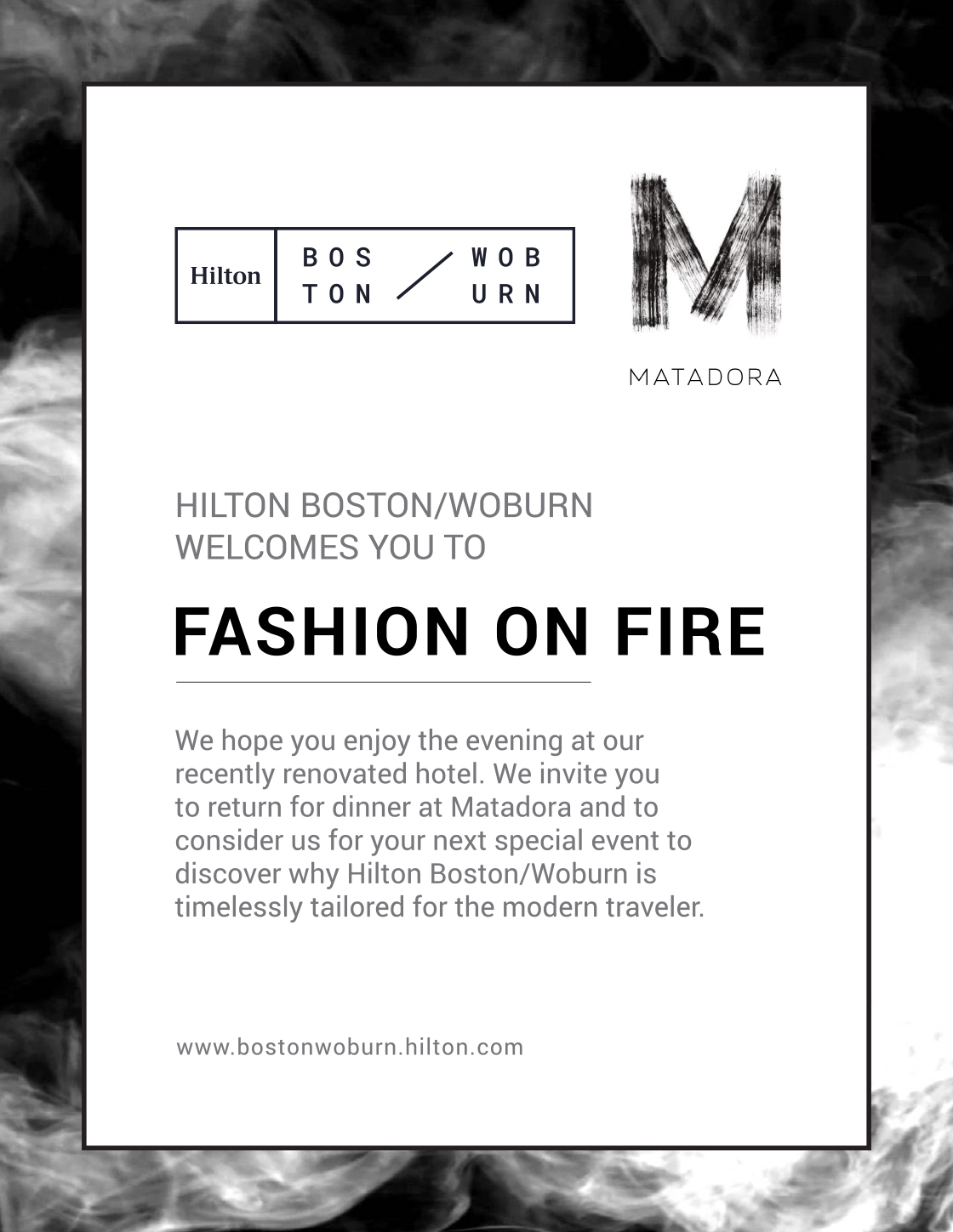 Woburn Hilton Fashion on Fire Advertisement