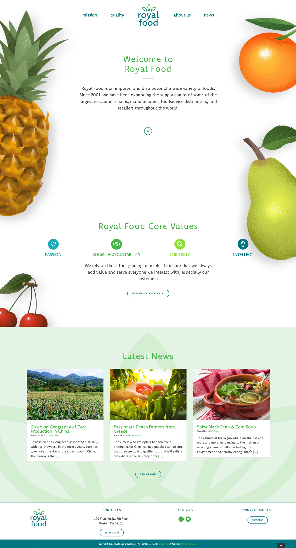 Royal Foods Interior Webpage