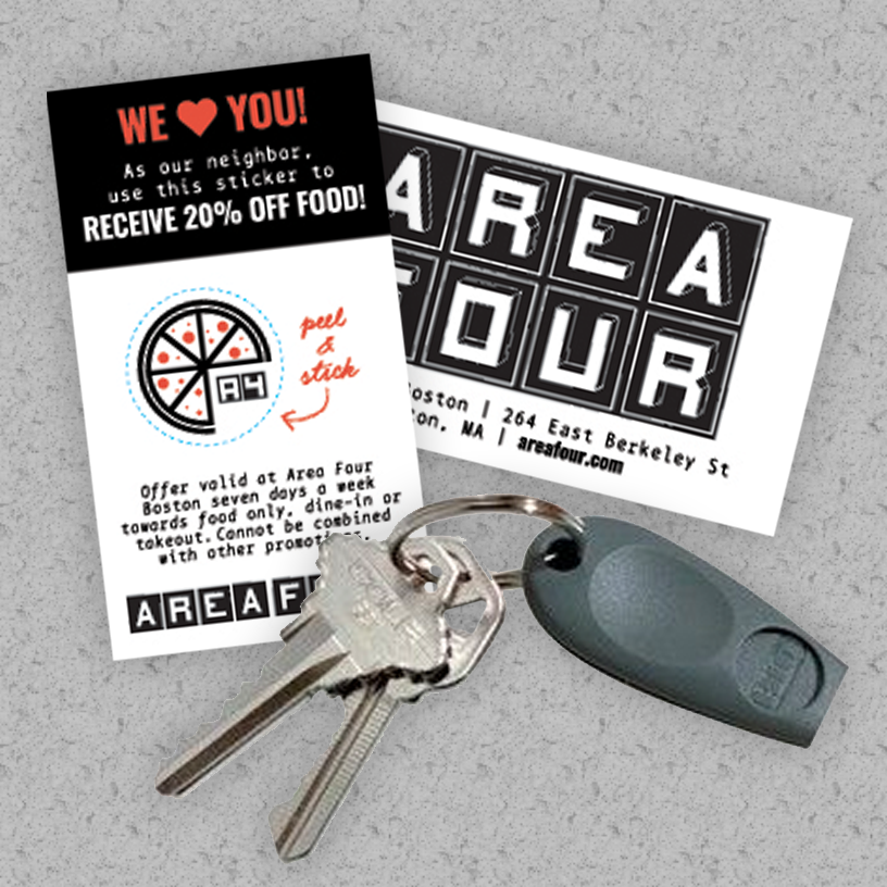 Area Four Loyalty Program Key Fob Sticker