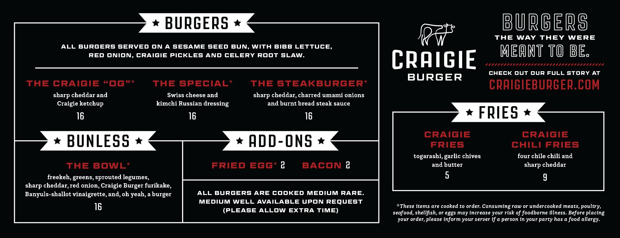 Craigie Burger Menu Board