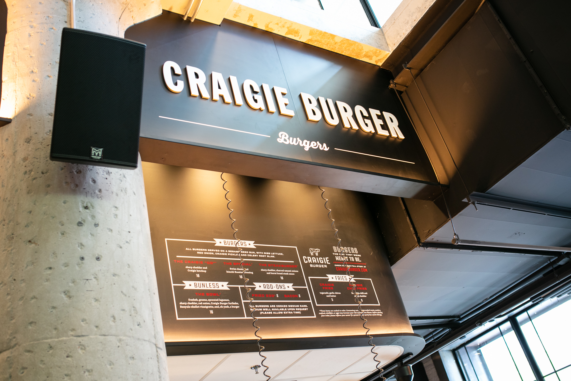 Craigie Burger Menu Board Installed