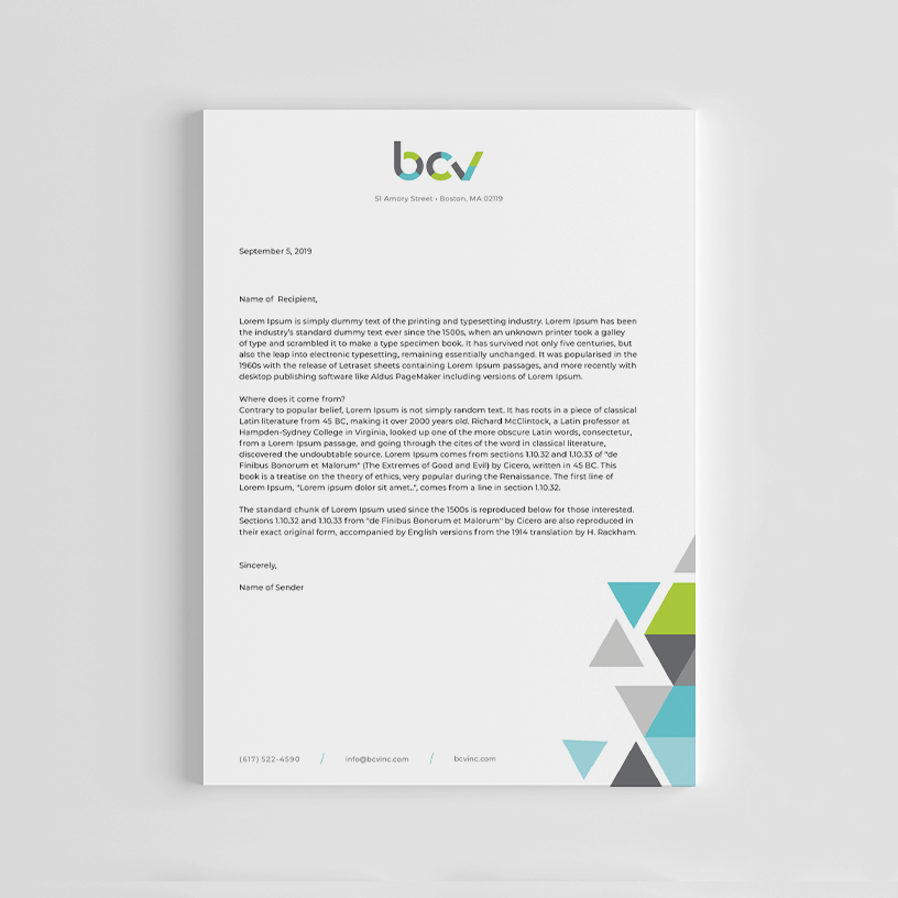 Boston Community Ventures Letterhead