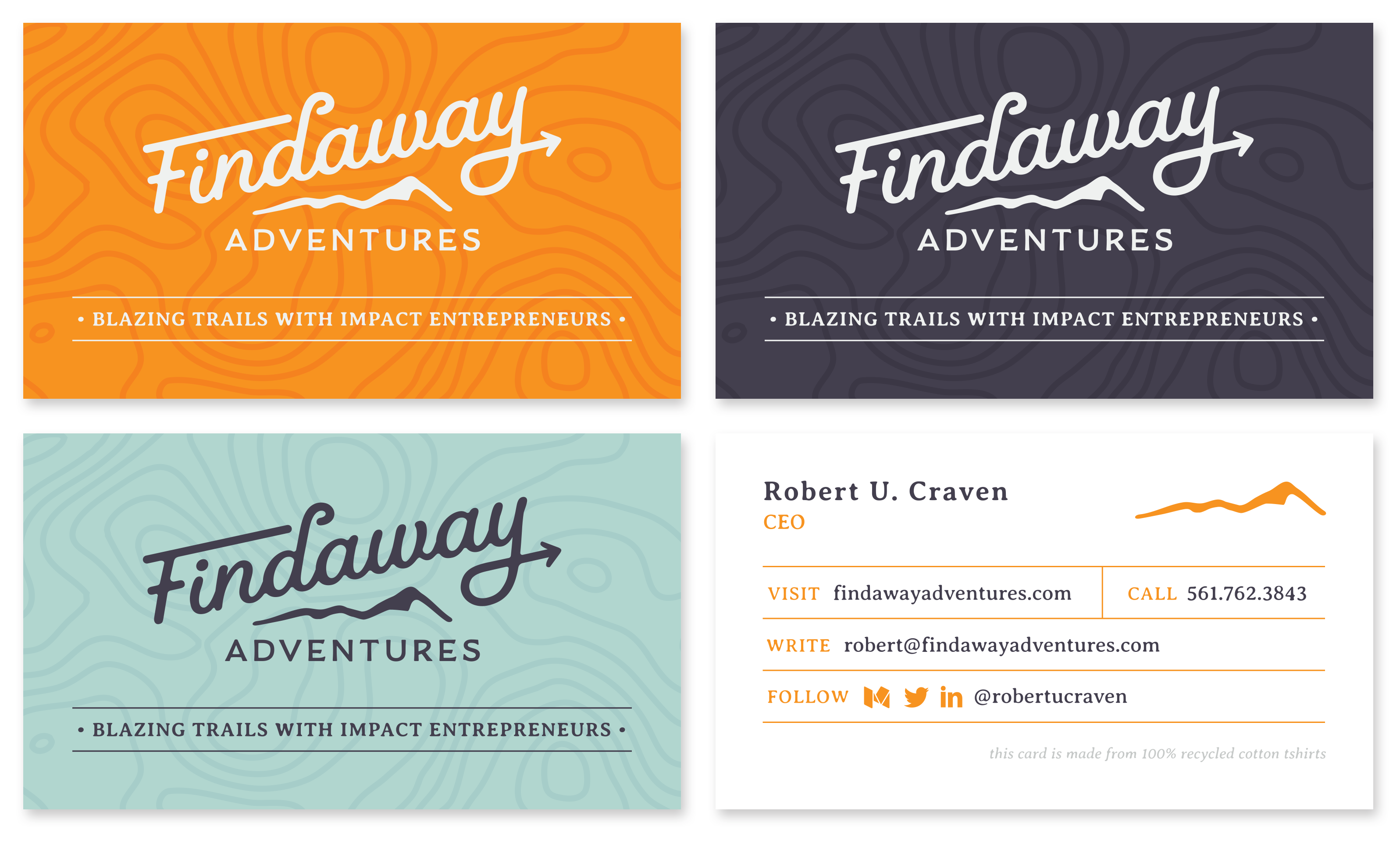 Findaway Adventures Business Card (Fronts and Back)